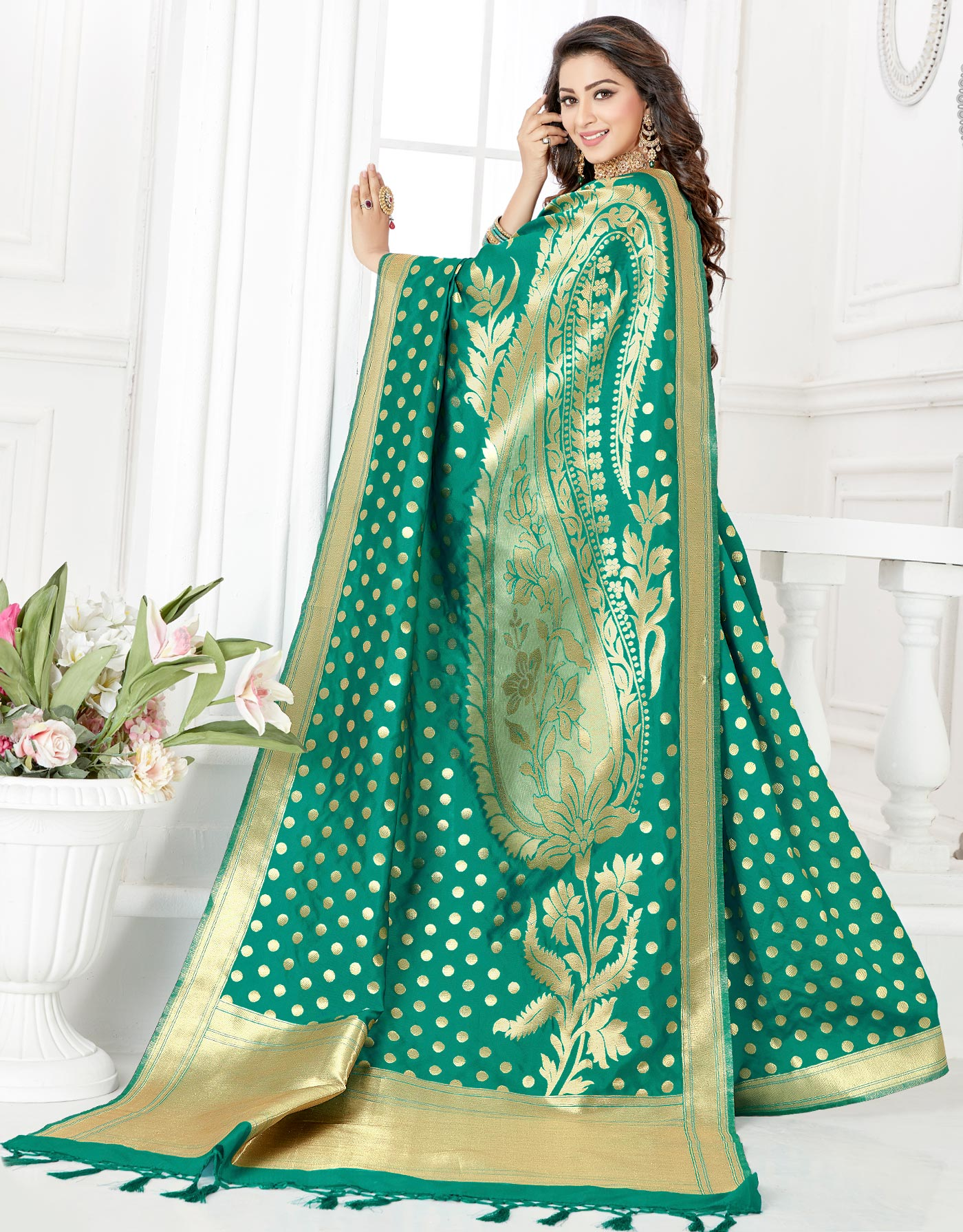 Attractive Aqua Green Colored Festive Wear Woven Banarasi Silk Saree