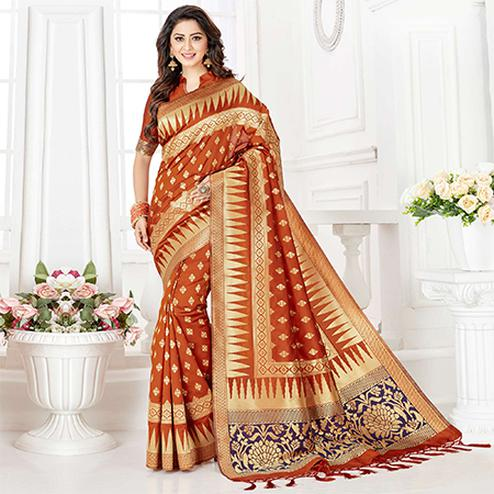 Glowing Orange Colored Festive Wear Woven Banarasi Silk Saree