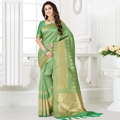 Refreshing Green Colored Festive Wear Woven Banarasi Silk Saree