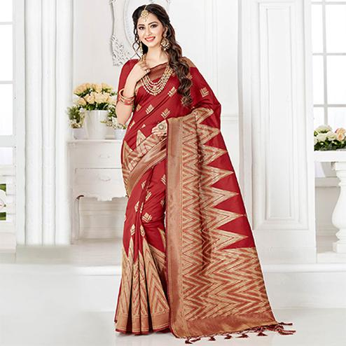Traditional Red Colored Festive Wear Woven Banarasi Silk Saree
