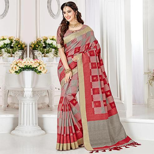 Unique Pink-Red Colored Festive Wear Woven Cotton Silk Saree