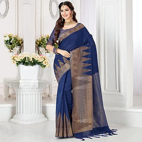 Glowing Blue Colored Festive Wear Woven Cotton Silk Saree