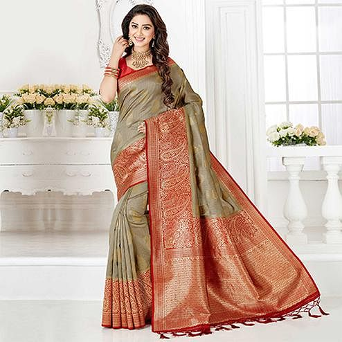 Trendy Beige-Red Colored Festive Wear Woven Banarasi Silk Saree