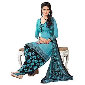 Delightful Blue French Crepe Dress Material With Matching Dupatta