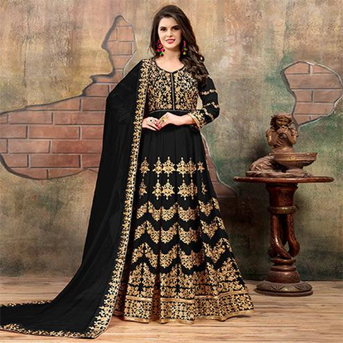 Beautiful Black Colored Partywear Designer Embroidered Floor Length Georgette Anarkali Suit