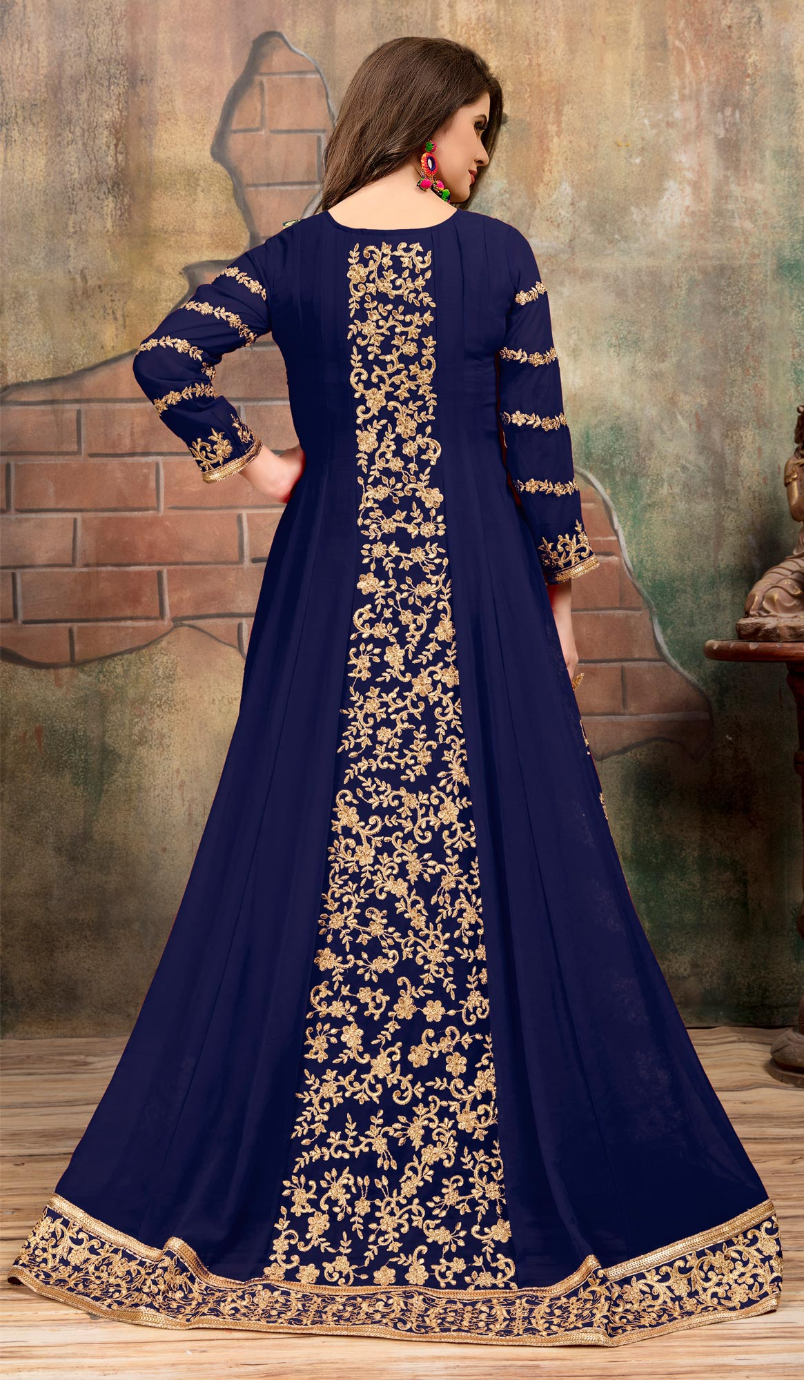 Glowing Navy Blue Colored Partywear Designer Embroidered Floor Length Georgette Anarkali Suit