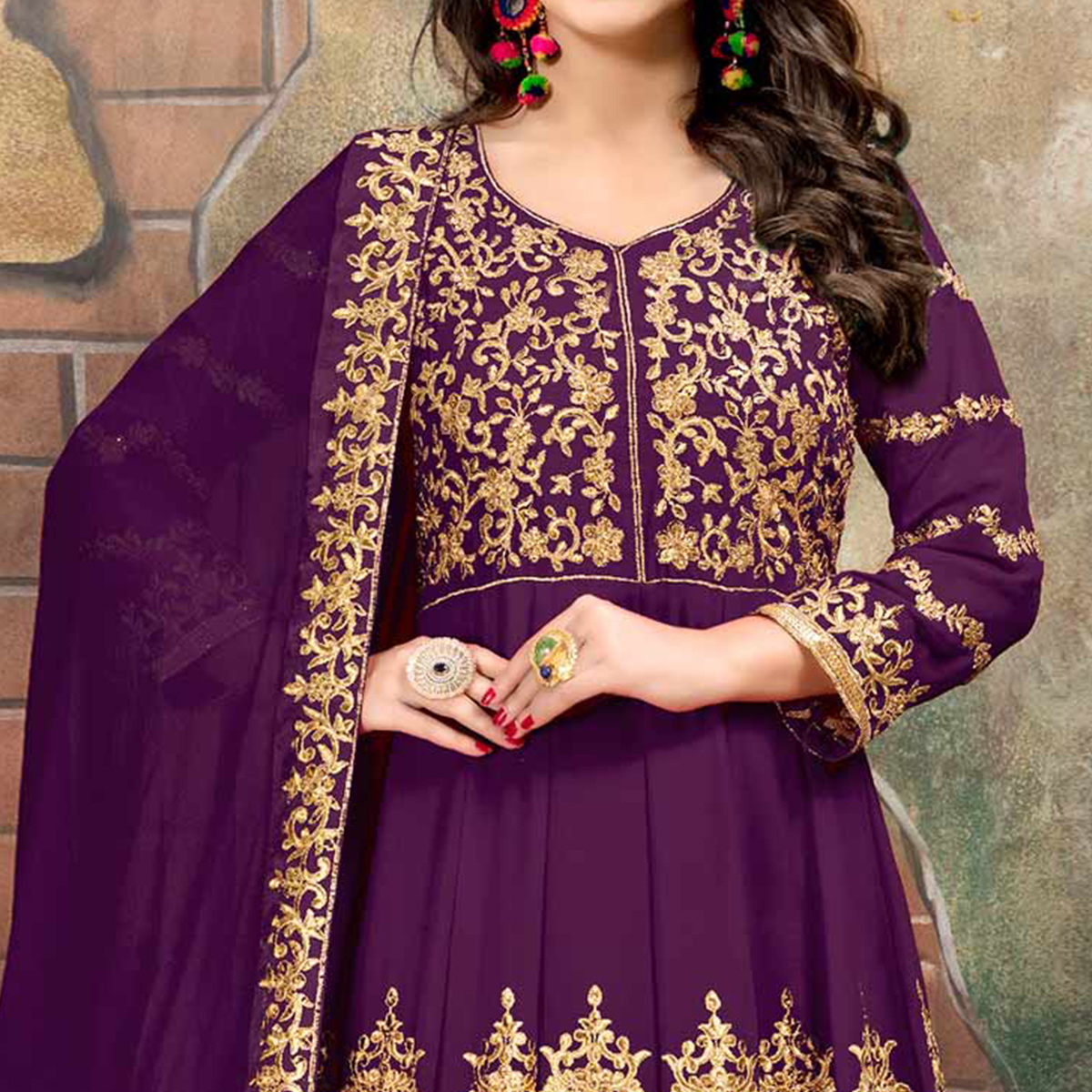 Mesmerising Purple Colored Partywear Designer Embroidered Floor Length Georgette Anarkali Suit