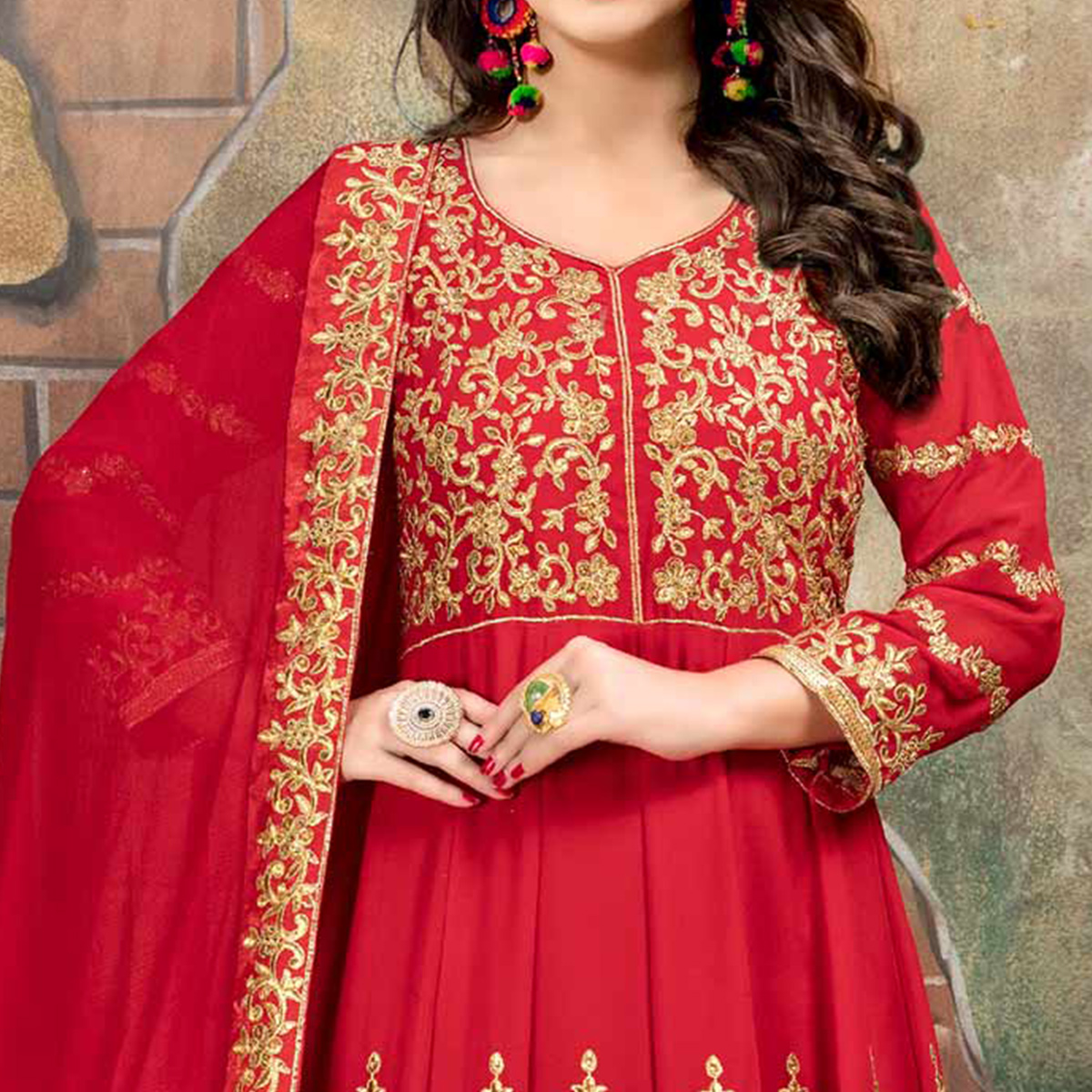 Refreshing Peach Colored Partywear Designer Embroidered Floor Length Georgette Anarkali Suit