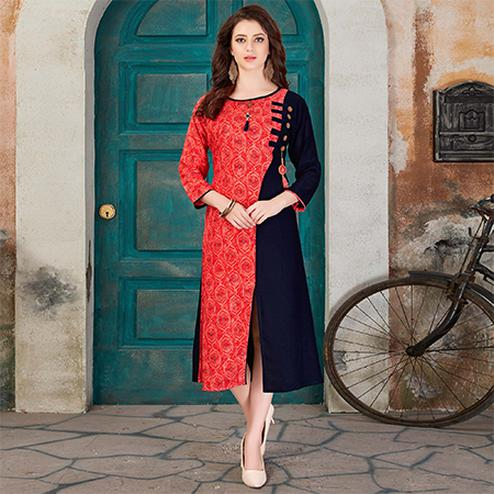 Classy Peach-Black Colored Casual Printed Rayon Kurti