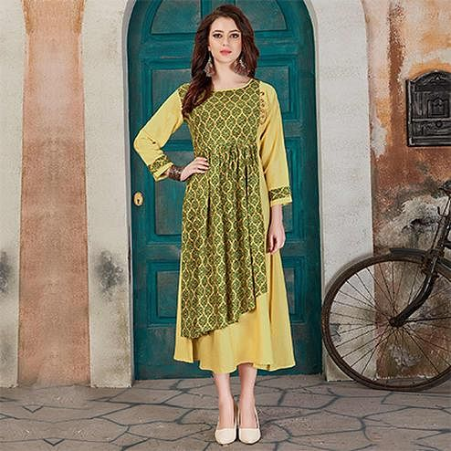 Lovely Yellow-Green Colored Casual Printed Rayon Kurti