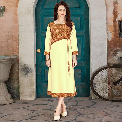 Pleasance Light Yellow Colored Casual Printed Rayon Kurti