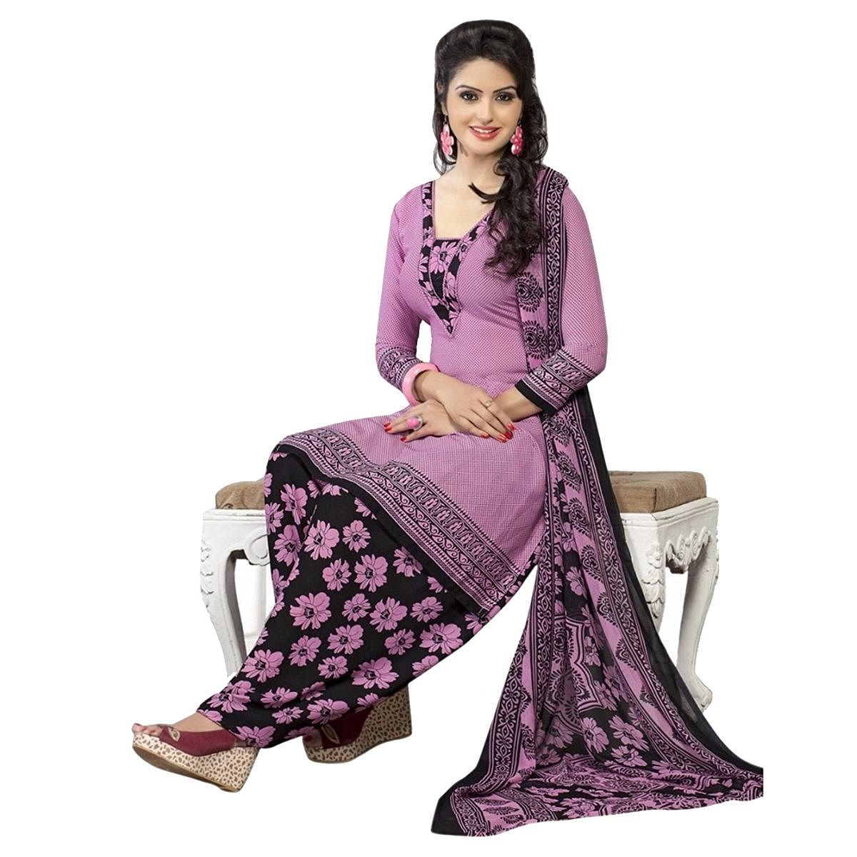 Delightful Purple French Crepe Dress Material With Matching Dupatta