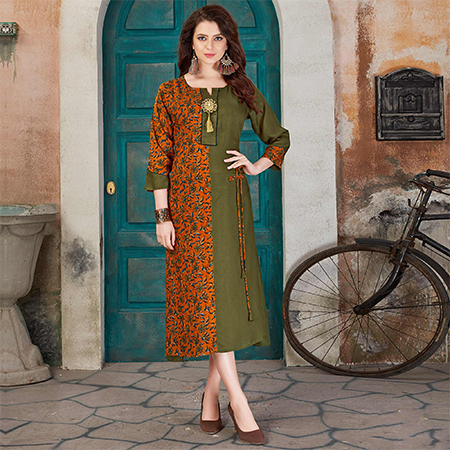 Unique Olive Green-Orange Colored Casual Printed Rayon Kurti