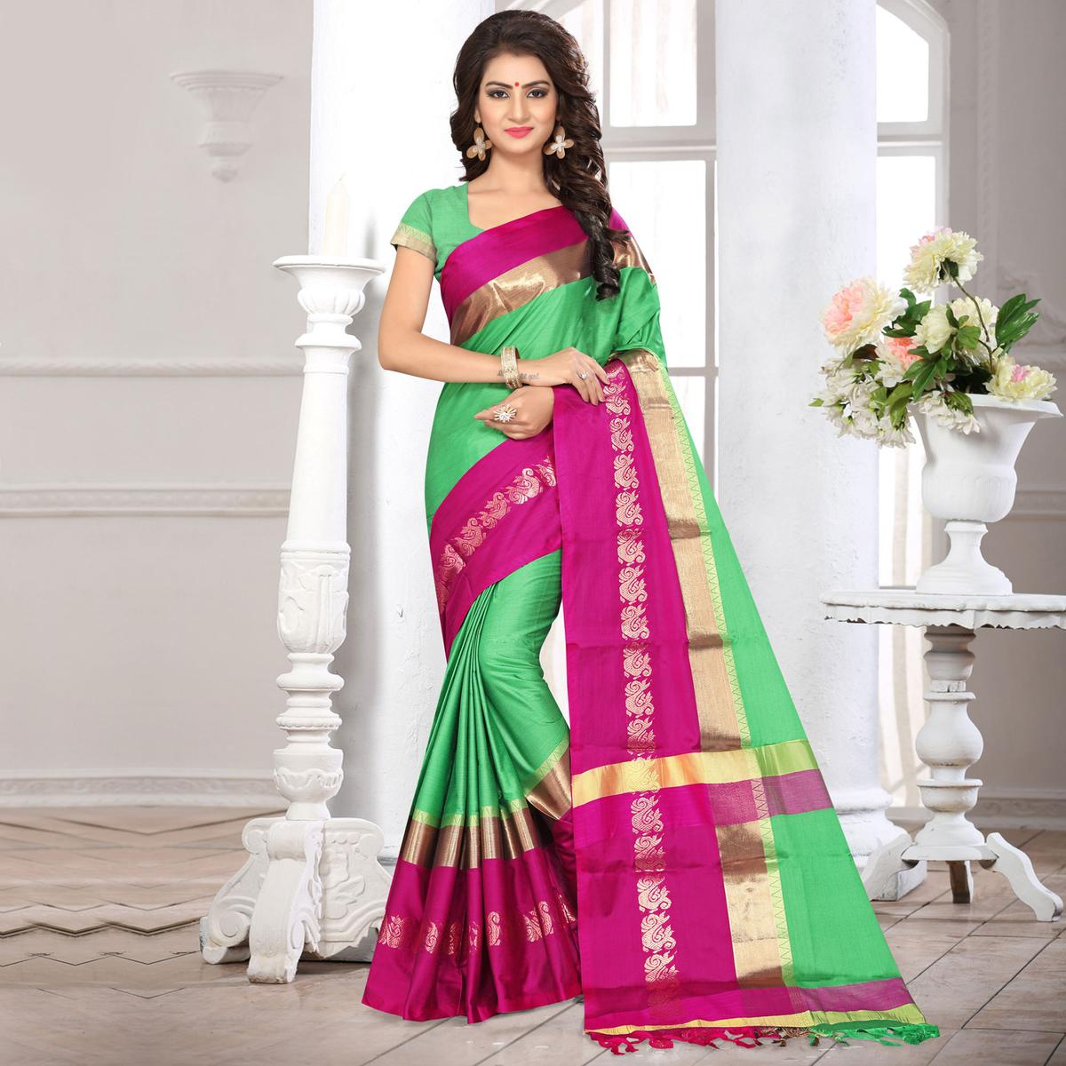 Awesome Green Colored Festive Wear Weaving Silk Saree