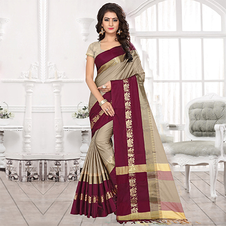 Exotic Grey Colored Festive Wear Weaving Satin Silk Saree