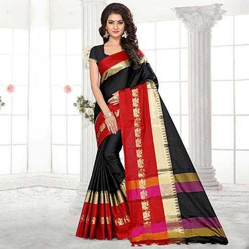 Stunning Black Colored Festive Wear Weaving Satin Silk Saree