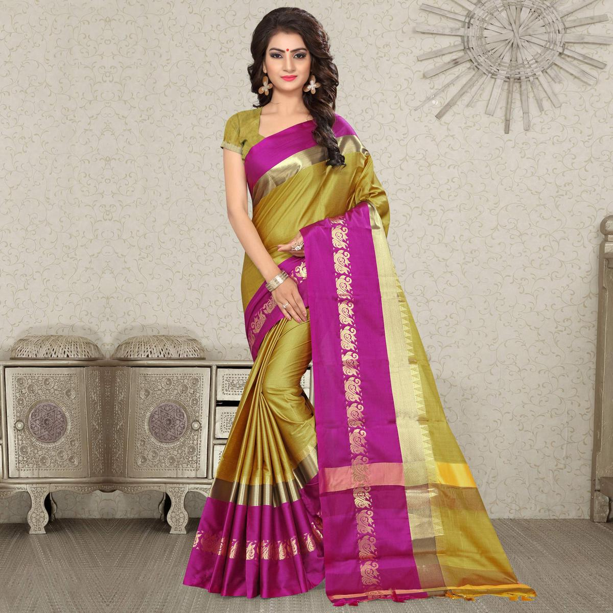 Adorning Pear Green Colored Festive Wear Weaving Satin Silk Saree