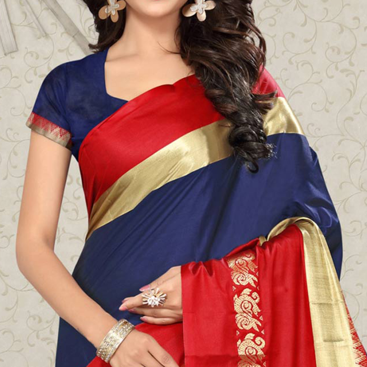 Precious Navy Blue Colored Festive Wear Weaving Silk Saree