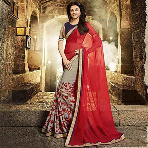 Beautiful Grey - Red Georgette Half & Half Saree