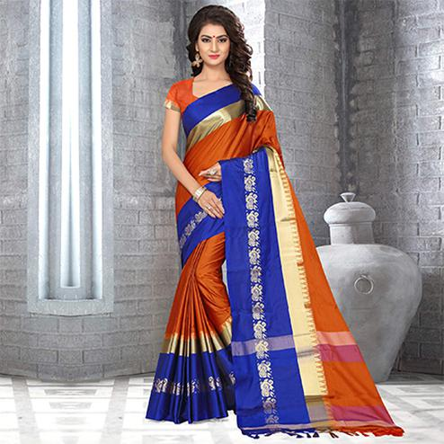 Staring Rust Orange Colored Festive Wear Weaving Satin Silk Saree