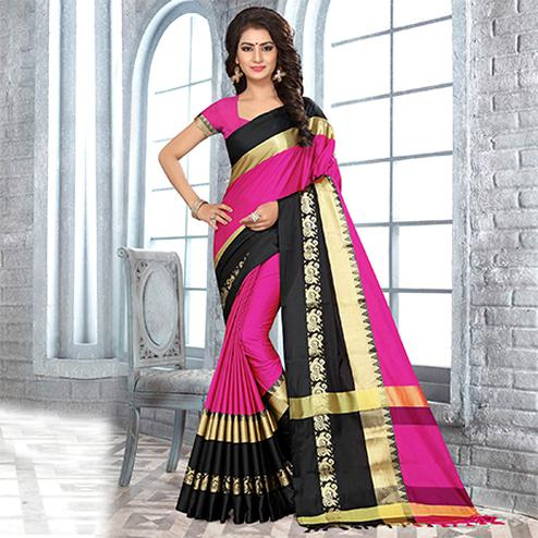 Blissful Dark Pink Colored Festive Wear Weaving Satin Silk Saree
