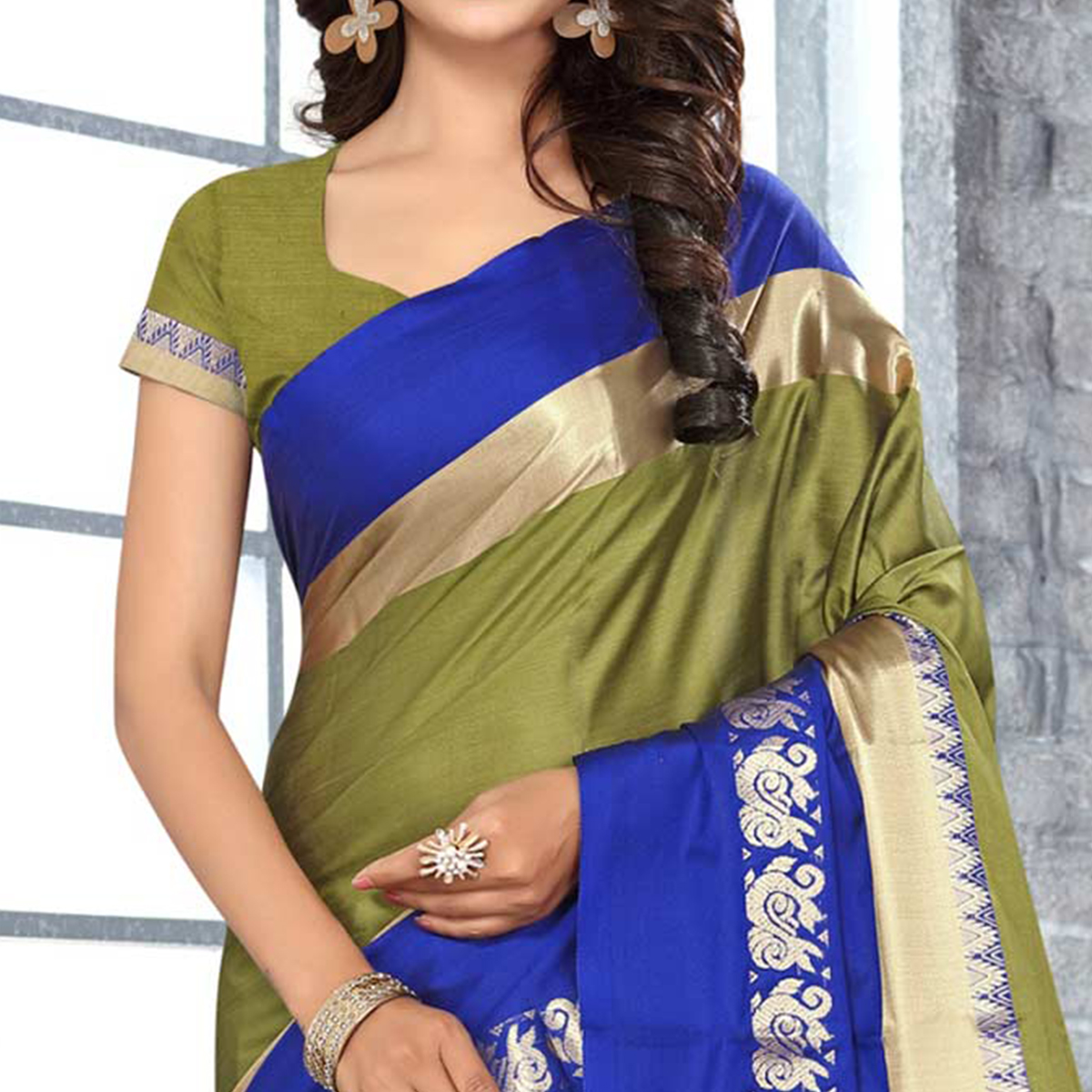 Ethnic Olive Green Colored Festive Wear Weaving Satin Silk Saree