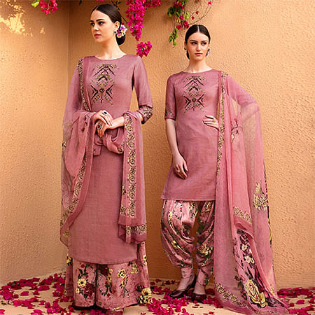 Arresting Light Wine Colored Partywear Embroidered Cotton Satin Dress Material