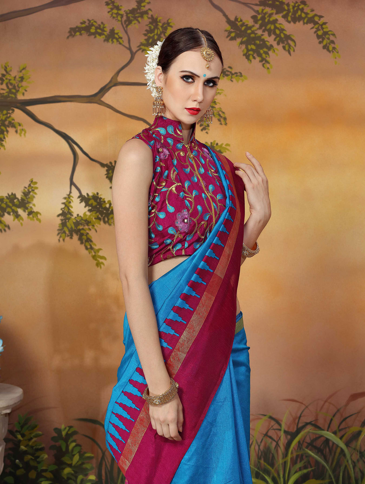 Beautiful Blue And Pink Traditional Wear Zoya Silk Saree