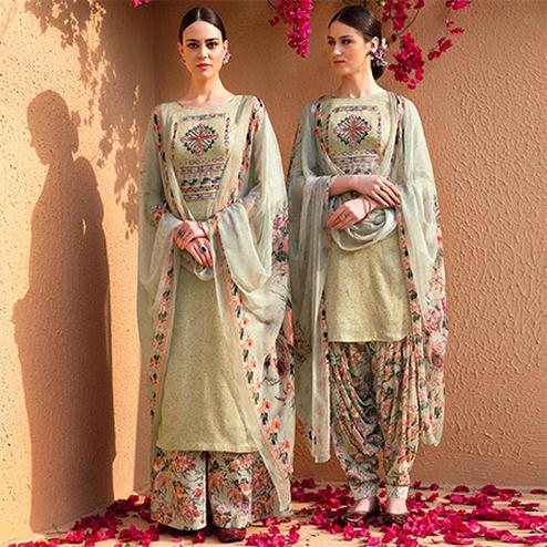 Exceptional Gloaming Green Colored Partywear Embroidered Cotton Satin Dress Material