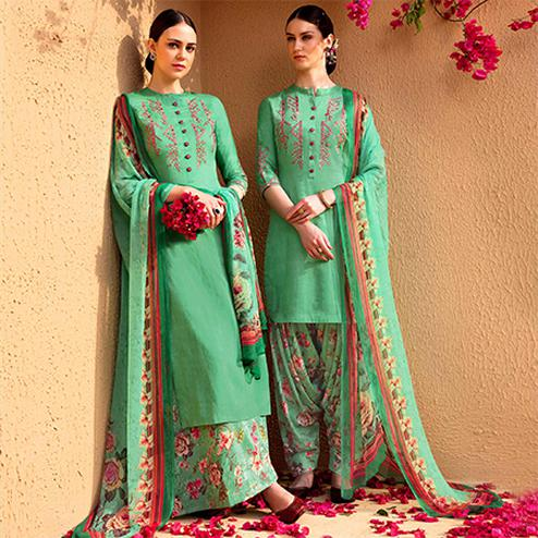 Demanding Green Colored Partywear Embroidered Cotton Satin Dress Material