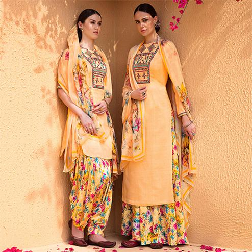 Desiring Yellow Colored Partywear Embroidered Cotton Satin Dress Material