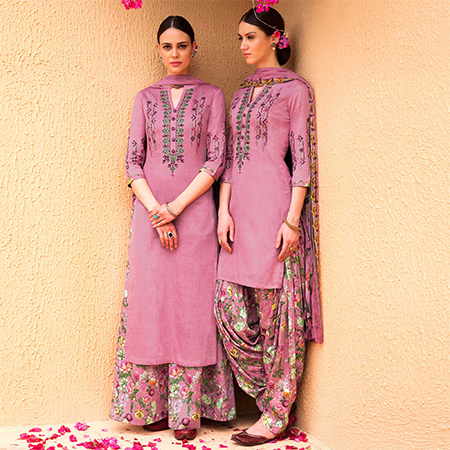 Pretty Pink Colored Partywear Embroidered Cotton Satin Dress Material