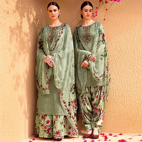 Eye-Catching Olive Green Colored Partywear Embroidered Cotton Satin Dress Material