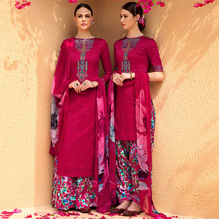 Arresting Dark Magenta Colored Partywear Embroidered Cotton Satin Dress Material