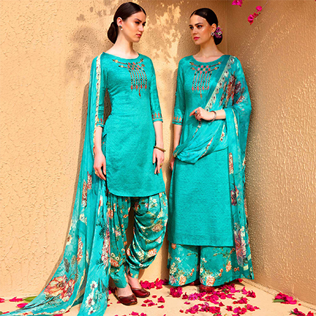 Impressive Sky Blue Colored Partywear Embroidered Cotton Satin Dress Material