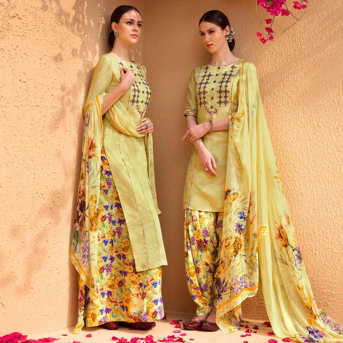Refreshing Yellow Colored Partywear Embroidered Cotton Satin Dress Material