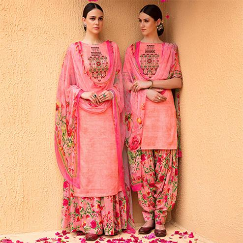 Hypnotic Peach Colored Partywear Embroidered Cotton Satin Dress Material