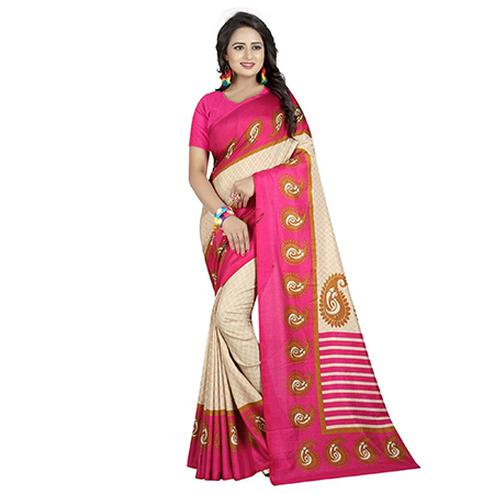 Beautiful Off White-Pink Colored Casual Printed Art Silk Saree