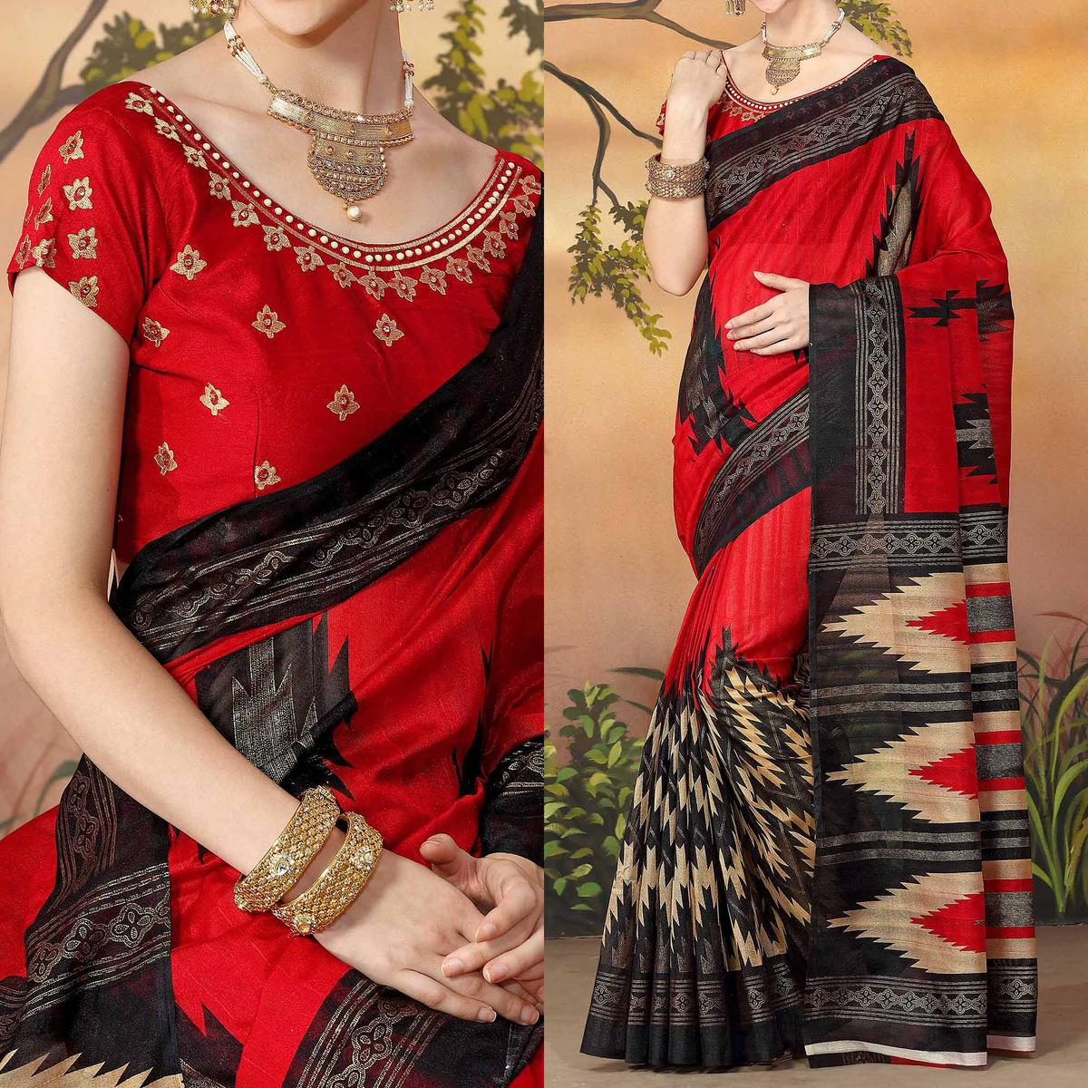 Red Traditional Design Printed Zoya Silk Saree