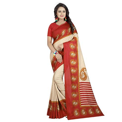 Elegant Off White-Red Colored Casual Printed Art Silk Saree