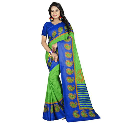 Glowing Green-Blue Colored Casual Printed Art Silk Saree