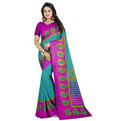 Attractive Sky Blue-Purple Colored Casual Printed Art Silk Saree