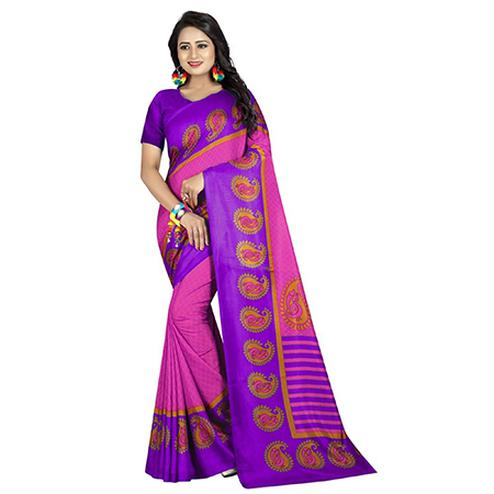 Gorgeous Pink-Purple Colored Casual Printed Art Silk Saree