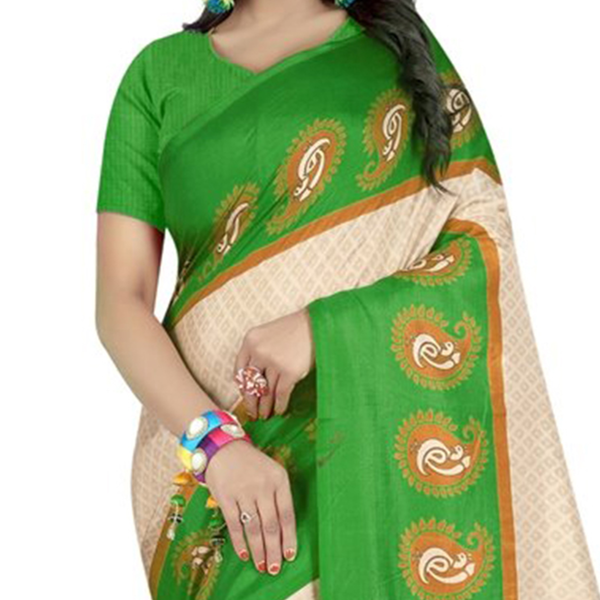 Eye-Catching Off White-Green Colored Casual Printed Art Silk Saree