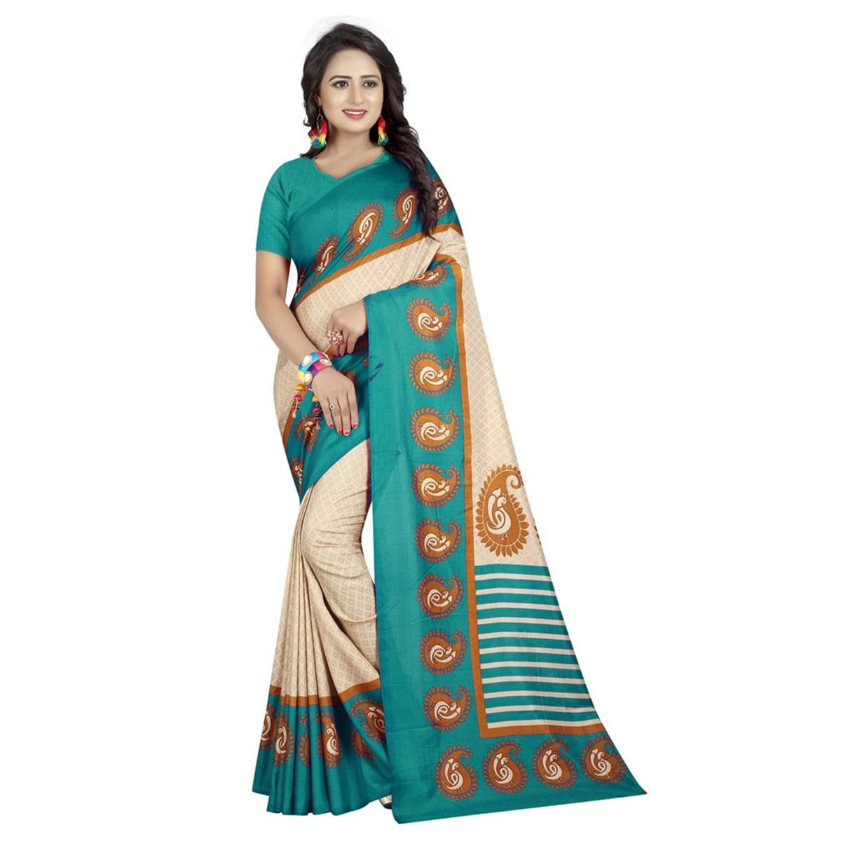 Impressive Off White-Turquoise Green Colored Casual Printed Art Silk Saree