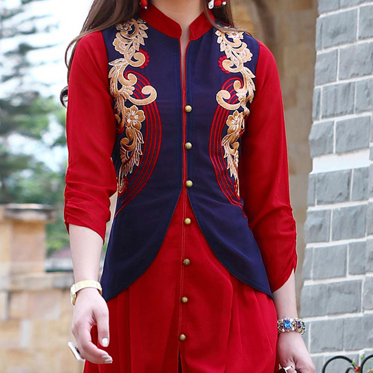 Stylish Red Colored Fancy Embroidered Georgette Kurti