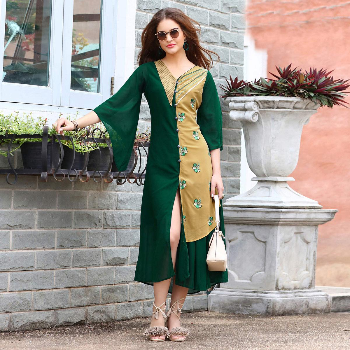 Classy Green-Beige Colored Fancy Embroidered Georgette Kurti