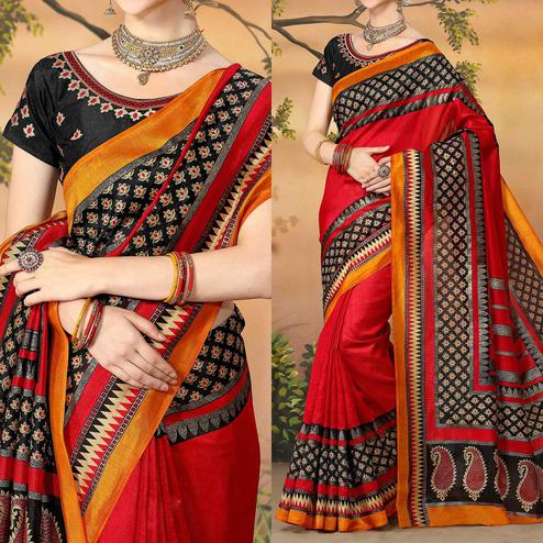 Elegant Red Traditional Wear Zoya Silk Saree