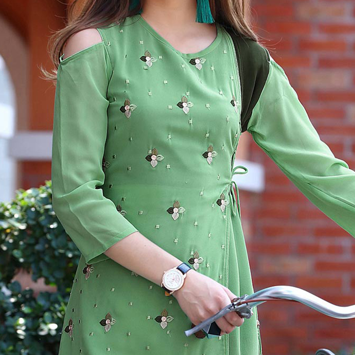Demanding Green Colored Fancy Embroidered Georgette Kurti