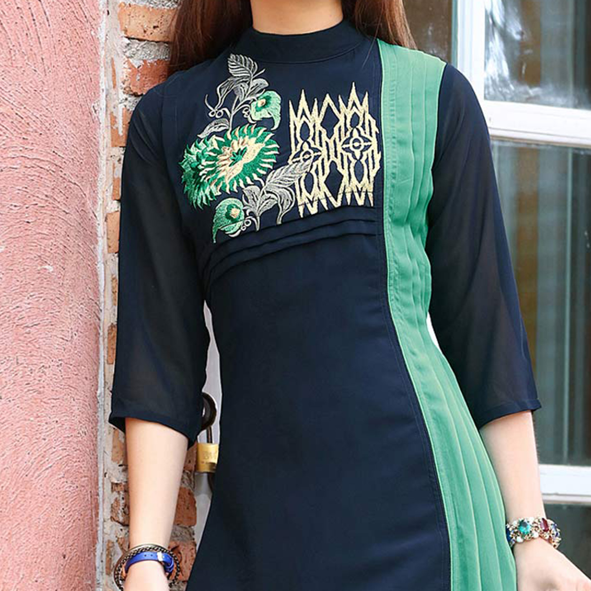 Gorgeous Navy Blue Colored Fancy Embroidered Georgette Kurti